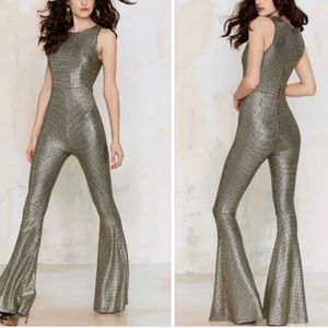 NWT Nasty Gal Gold Houndstooth Jumpsuit M
